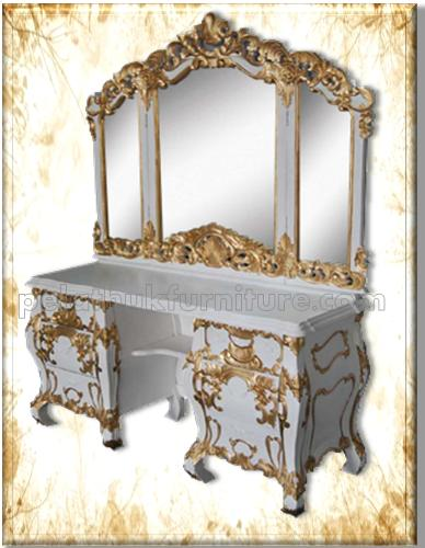 white and gold vanity table. Rococo Bedroom Chairs  Stools and Sofas Dressing Table White Gold mahogany furniture indonesia antique reproduction